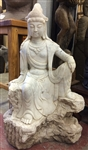 3ft Restored Antique White Marble Kwan Yin Goddess of Compassion NE China Mid-19th Cen