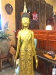 6ft Antique STANDING BUDDHA Statue Northern Laos GOLD GILDED Teak Wood