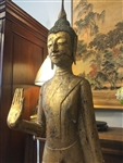 6ft Walking BUDDHA Statue Luang Prabang Laos Abhaya GOLD GILDED Teak Wood