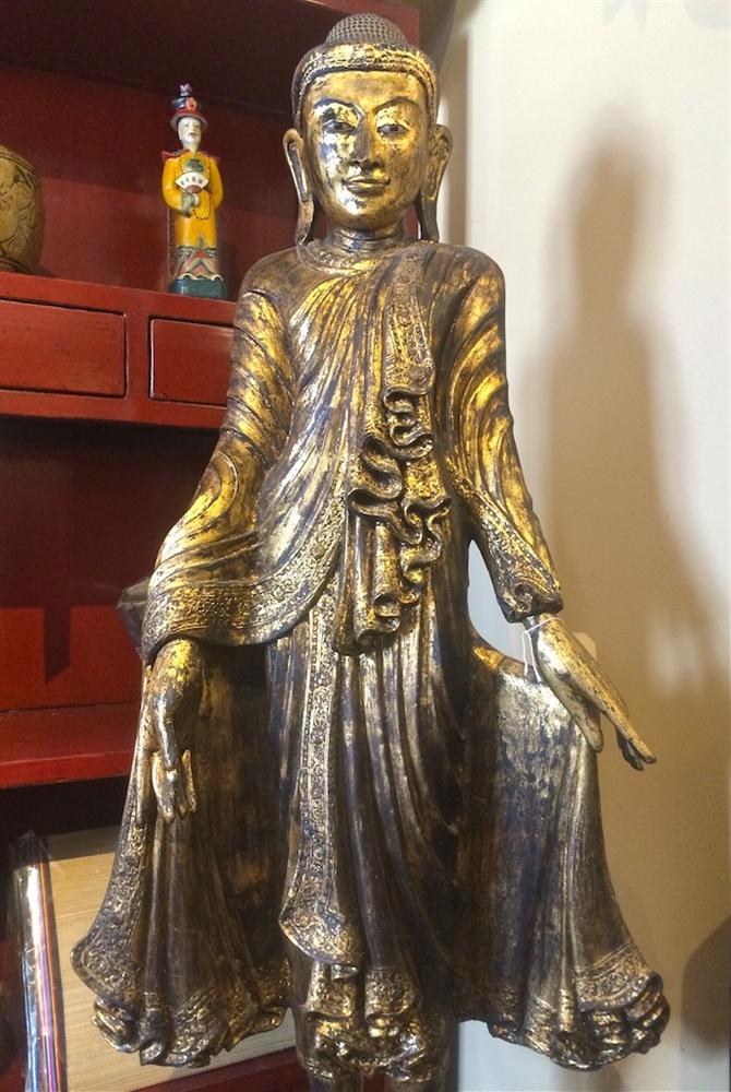 5ft antique burmese mandalay standing buddha statue gold gilded teak wood