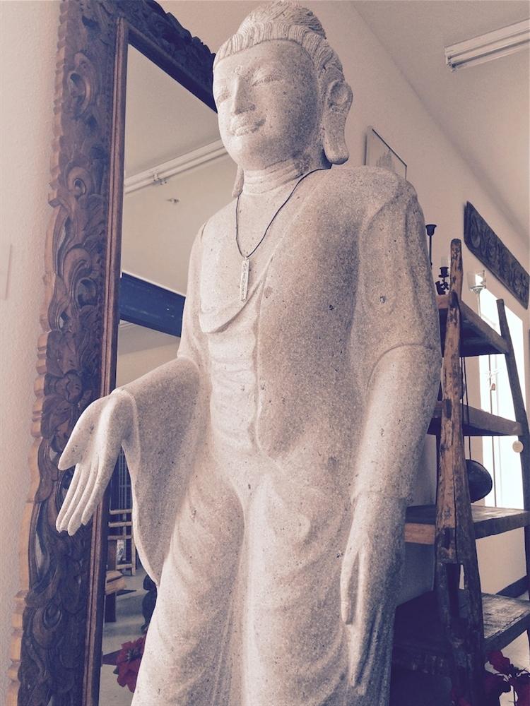5ft Large Standing Gandhara Garden Buddha Statue Granite Stone Buddhist Art