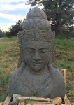 3ft Tall Hand Sculpted Stone Lord Shiva Head Statue w/Ornate Crown and Jewelry