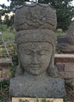 3ft Goddess of Water Devi Ganga Bust Statue & Flower Garden Planter Pot Solid Carved Stone