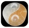 White/Orange Selenite Yin Yang Tea Light