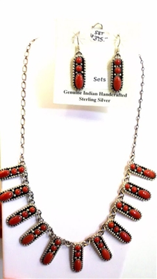 Sterling Coral Necklace & Earring Set