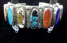 Multi Gemstone Sterling Cuff Bracelet