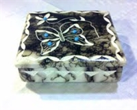 Navajo Horse Hair Pottery, Butterfly Square Box