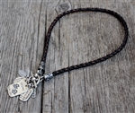 BRAIDED LEATHER NECKLACE W/ STERLING ENDERS & TOGGLE