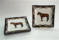 "Square Plate - Tack Border - 6-7/8"" - Hunter Horse - Set/4"