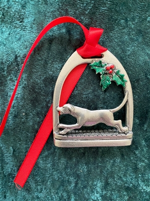 Foxhound in Stirrup Pewter Ornament