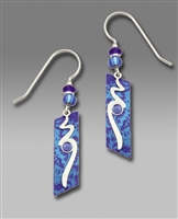 Adajio Earrings - Cobalt Blue Slanted Rectangle with Shiny Silver Tone Overlay