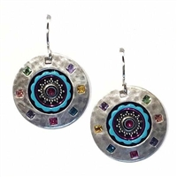 Firefly Earrings-Multi Color Hammered Metal Circle