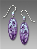Adajio Earrings - Blue & Purple Ombré Oval with Violet Irises Overlay