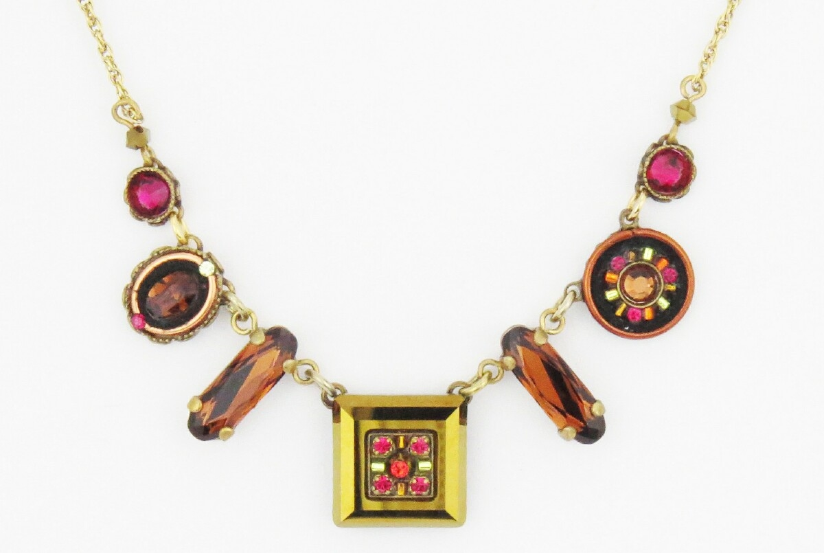 Firefly Necklace-La Dolce Vita Mosaic Crystal -Smoky Topaz