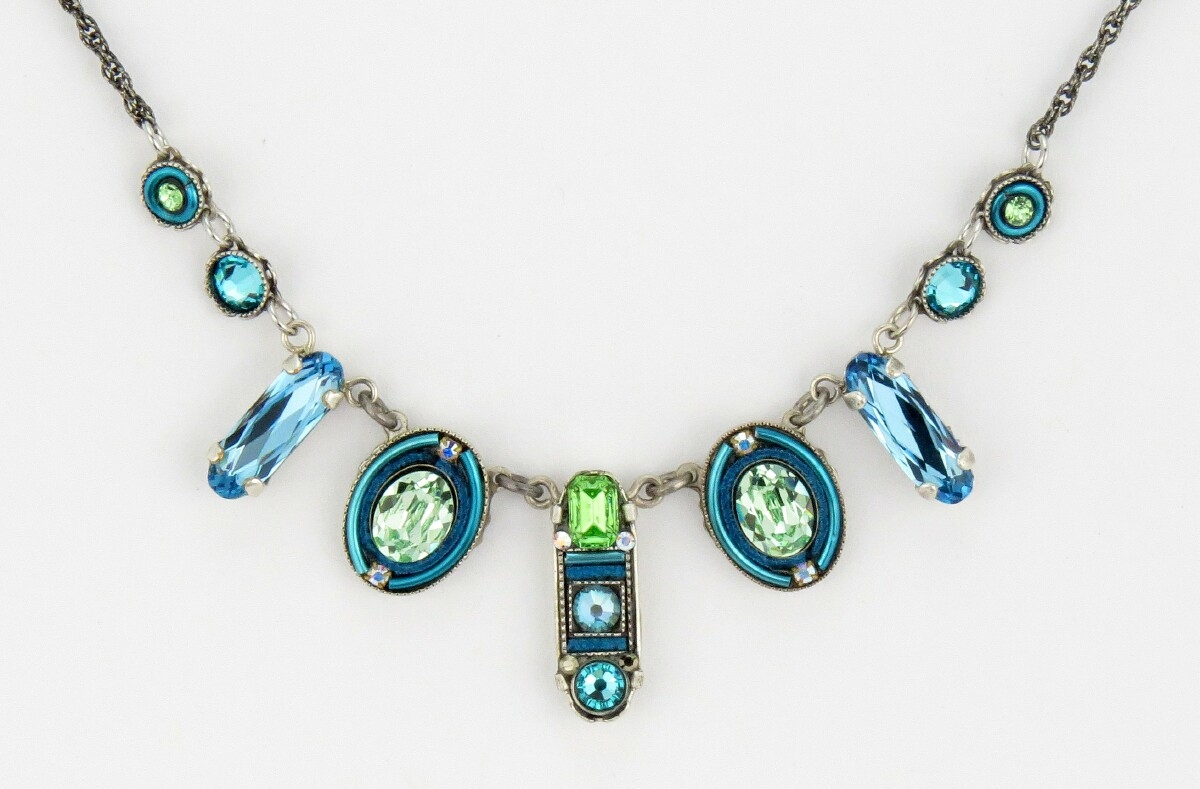 necklace sharpe blue miranda products enamel light silver flourish