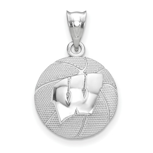 University of wisconsin sterling silver basketball pendant mozeypictures Images