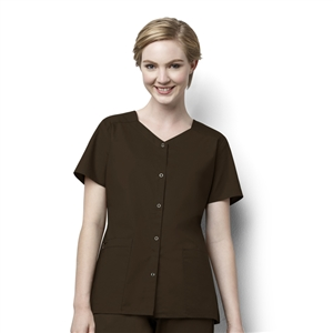 WonderWORK 200 : Woman's Short Sleeve Snap Front Solid Scrub Top