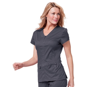 KOI 204 - Stretch Mackenzie Zip Front Solid Scrub Top