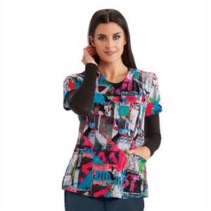 Barco One 5107 - 4 Pocket V-Neck Print Top