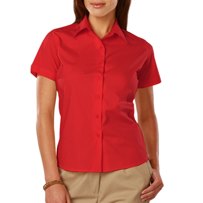 Blue Generation 6218S - Ladies Easy Care S/S Stretch Poplin Blouse