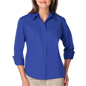 Blue Generation 6260 - Ladies 3/4 Sleeve Fitted Easy Care Super Blend Poplin w/Buttons