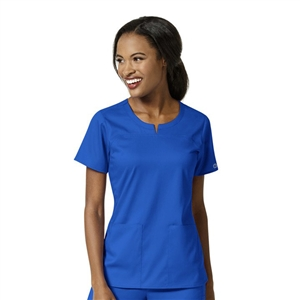 WonderWink PRO 6419 - Women's 4 Pocket Notch Neck Solid Scrub Top