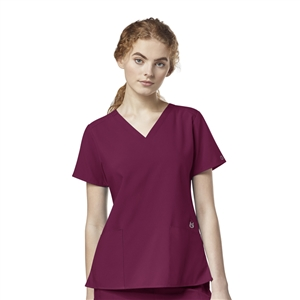 WonderWink W123 6555 - Women's Flex Back Styled V-Neck Solid Scrub Top