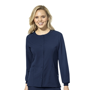 WonderWink W123 8155 - Women's Crew Neck Warm Up Snap Front Solid Scrub Jacket