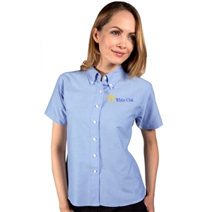 O - Blue Generation 6214S - Ladies' Short Sleeve Pocketless Oxford for White Oak