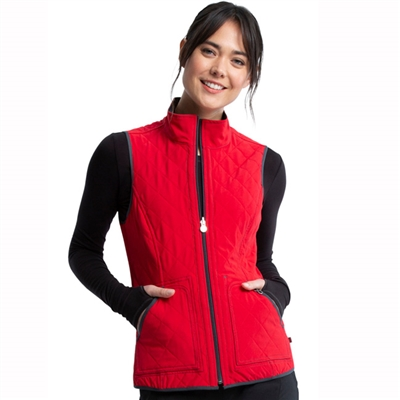 Cherokee CK530A-HTRO - Infinity Women's Reversible Quilted Vest In Heather Charcoal / Red Combo