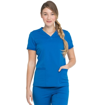 Dickies Balance DK870 - Women's V-Neck Rib Knit Panel Solid Scrub Top