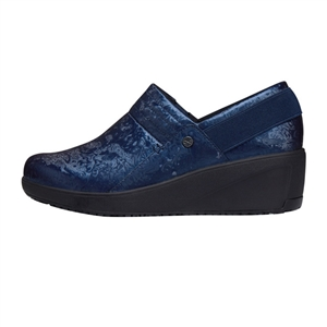 Infinity by Cherokee Women's Glide Slip-On Wedge Shoe in pattern NVBK - Navy / Black