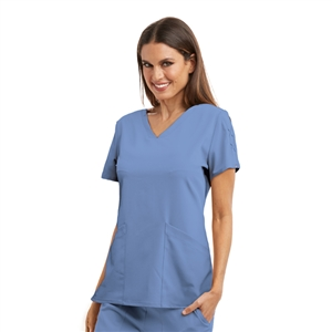 Barco Grey's Anatomy™ Signature GNT019 - Women's Astra V-Neck Laced Sleeve Solid Scrub Top