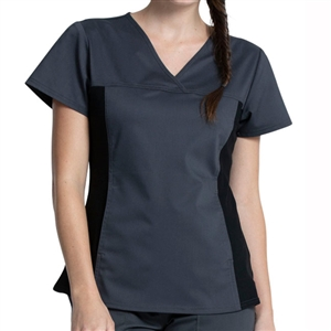 Cherokee WW2875 - Women's V-Neck Knit Panel Scrub Top
