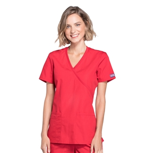 Cherokee WW650 - WW Originals Women's Mock Wrap Knit Panel Solid Scrub Top