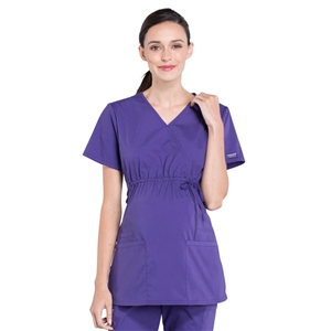 Cherokee Professional WW685 - Women's Maternity Mock Wrap Soft Knit Panel Solid Scrub Top
