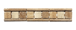 Shaw Floors - CS38A Raised Listello Mosaic Travertine Stone Liner Border - Tumbled Finish