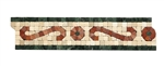 Shaw Floors - CS62A Scroll Tumbled Marble Mosaic Listello - Crema Marfil, Rojo, & Verde Marble Border Liner Strip