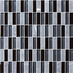 Bristol Studios - Crystal Stone - G2276 Night Bricks - 5/8 X 1-7/8 Brick Subway Glass & Stone Tile Mosaic