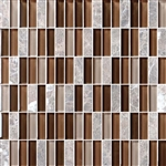 Bristol Studios - Crystal Stone - G2280 Cafe Bricks - 5/8 X 1-7/8 Brick Subway Glass & Stone Tile Mosaic