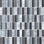 Bristol Studios - Crystal Stone - G2284 Blue Bricks - 5/8 X 1-7/8 Brick Subway Glass & Stone Tile Mosaic