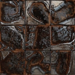 Bristol Studios - Midnight Metallic - G2320 Polynesian Lava - 4X4 Hand Crafted Decorative Tile