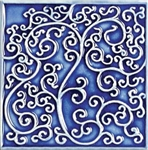 Bristol Studios - Nouveau - G2349 Nantes Blue Relief Deco - 6X6 Hand Crafted Decorative Tile