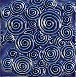 Bristol Studios - Nouveau - G2350 Chinon Blue Relief Deco - 6X6 Hand Crafted Decorative Tile