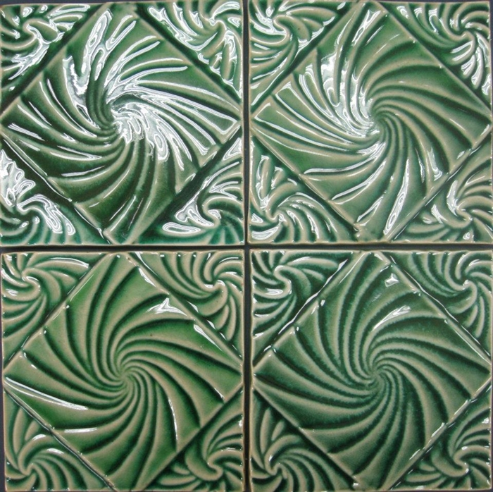 bristol studios nouveau g2351 lyon vert relief deco 6x6 hand crafted decorative tile. Black Bedroom Furniture Sets. Home Design Ideas