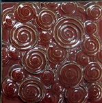 Bristol Studios - Nouveau - G2450 Chinon Rouge Relief Deco - 6X6 Hand Crafted Decorative Tile
