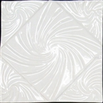 Bristol Studios - Nouveau - G2451 Lyon Blanc White Relief Deco - 6X6 Hand Crafted Decorative Tile