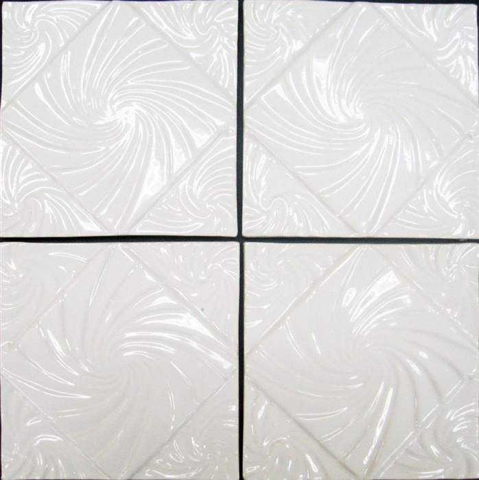 bristol studios nouveau g2451 lyon blanc white relief deco 6x6 hand crafted decorative tile. Black Bedroom Furniture Sets. Home Design Ideas