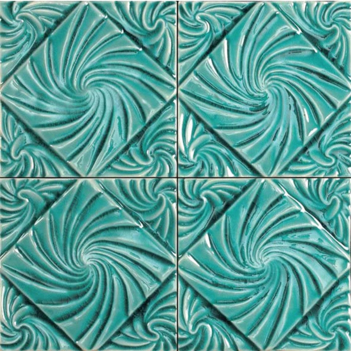 bristol studios nouveau g2797 lyon teal relief deco 6x6 hand crafted decorative tile. Black Bedroom Furniture Sets. Home Design Ideas