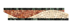 Micro Mosaic Stone Liner Border - MM2003 - Crema Marfil, Rojo, & Verde Marble Listello Strip - Tumbled Finish